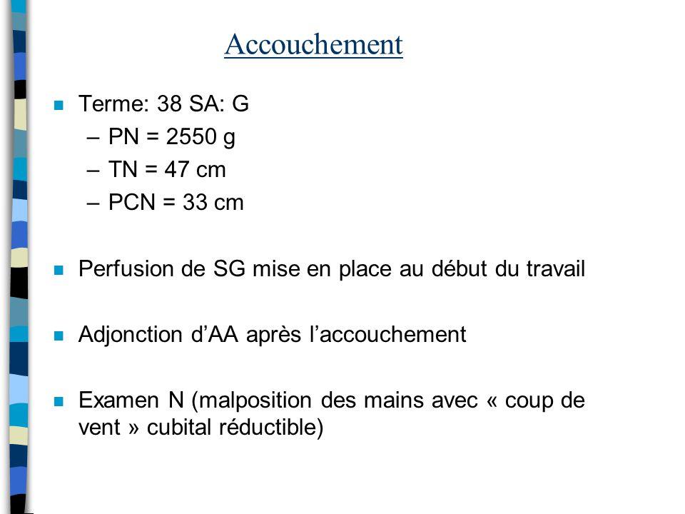 Accouchement n Terme: 38 SA: G –PN = 2550 g –TN = 47 cm –PCN = 33 cm n Perfusion de SG mise en place au début du travail n Adjonction dAA après laccou