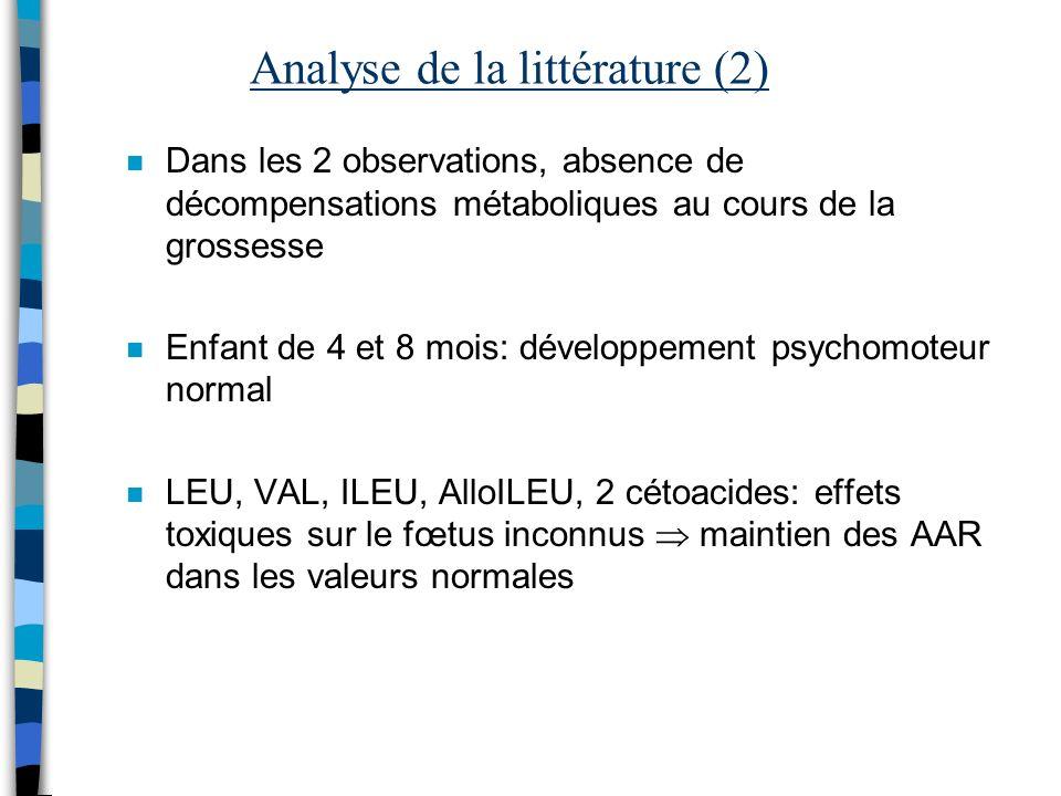 Analyse de la littérature (2) n Dans les 2 observations, absence de décompensations métaboliques au cours de la grossesse n Enfant de 4 et 8 mois: dév