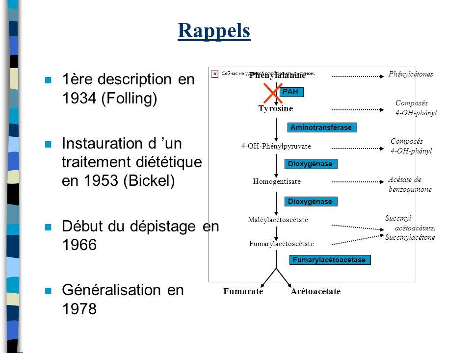 Rappels n 1ère description en 1934 (Folling) n Instauration d un traitement diététique en 1953 (Bickel) n Début du dépistage en 1966 n Généralisation