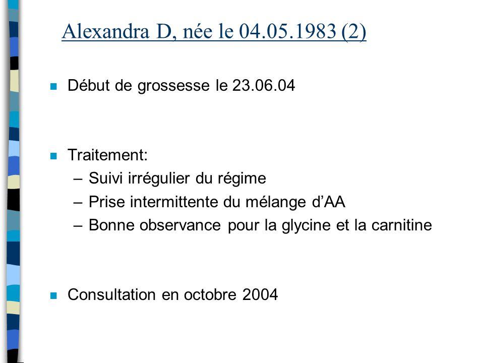 Alexandra D, née le 04.05.1983 (2) n Début de grossesse le 23.06.04 n Traitement: –Suivi irrégulier du régime –Prise intermittente du mélange dAA –Bon