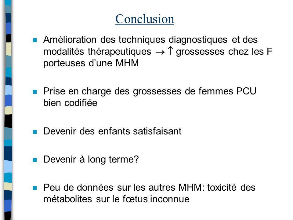 Conclusion n Amélioration des techniques diagnostiques et des modalités thérapeutiques grossesses chez les F porteuses dune MHM n Prise en charge des