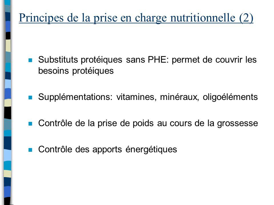 Principes de la prise en charge nutritionnelle (2) n Substituts protéiques sans PHE: permet de couvrir les besoins protéiques n Supplémentations: vita
