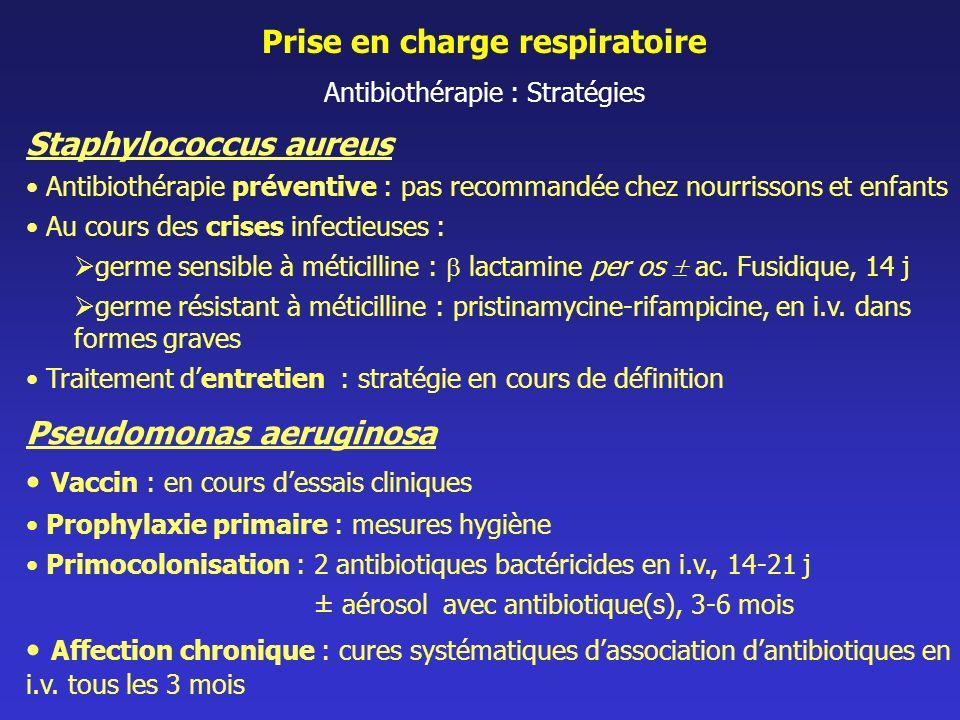 Prise en charge respiratoire Antibiothérapie : Stratégies Staphylococcus aureus Antibiothérapie préventive : pas recommandée chez nourrissons et enfan