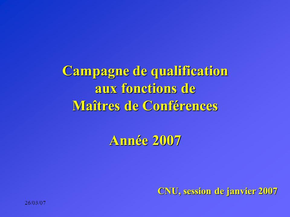 26/03/07 Campagne de qualification aux fonctions de Maîtres de Conférences Année 2007 CNU, session de janvier 2007