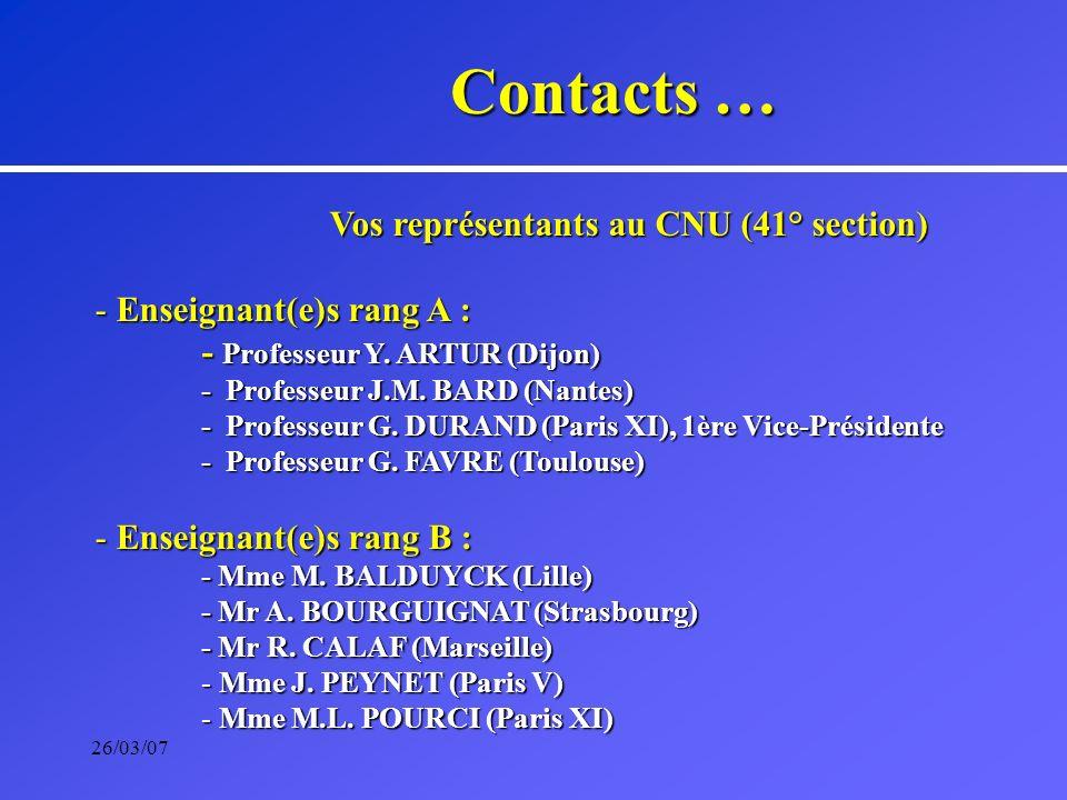 26/03/07 Vos représentants au CNU (41° section) - Enseignant(e)s rang A : - Professeur Y. ARTUR (Dijon) - Professeur J.M. BARD (Nantes) - Professeur G
