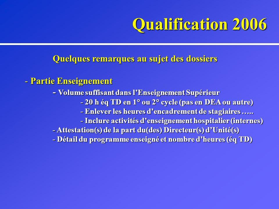 Qualification 2006 Quelques remarques au sujet des dossiers - Partie Enseignement - Volume suffisant dans lEnseignement Supérieur - 20 h éq TD en 1° ou 2° cycle (pas en DEA ou autre) - Enlever les heures dencadrement de stagiaires …..