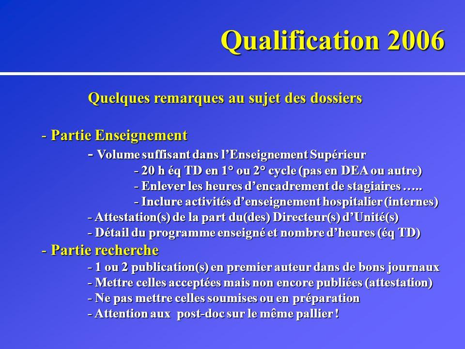 Qualification 2006 Vos représentants au CNU (41° section) - Enseignant(e)s rang A : - Professeur Y.