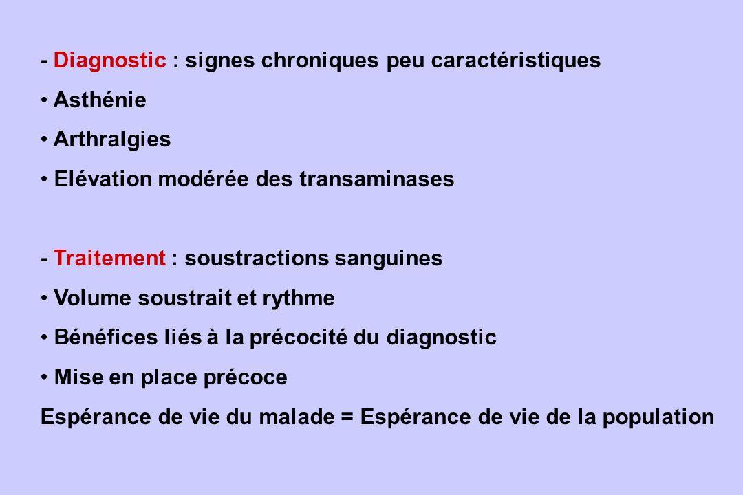 - Diagnostic : signes chroniques peu caractéristiques Asthénie Arthralgies Elévation modérée des transaminases - Traitement : soustractions sanguines
