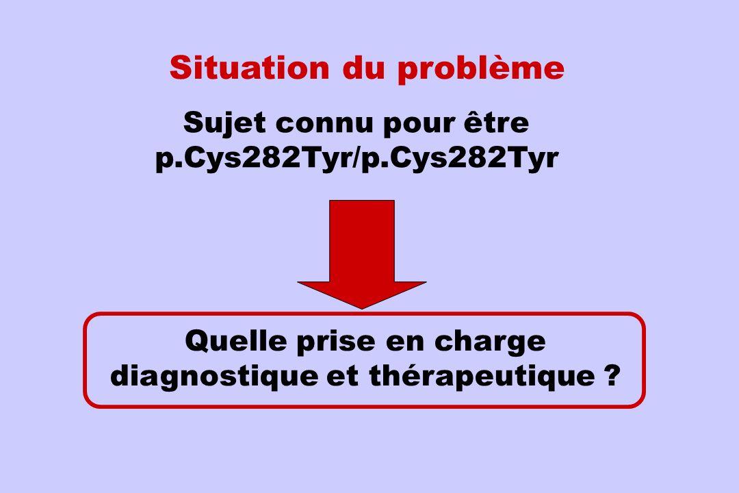 Sujet connu pour être p.Cys282Tyr/p.Cys282Tyr Situation du problème Quelle prise en charge diagnostique et thérapeutique ?