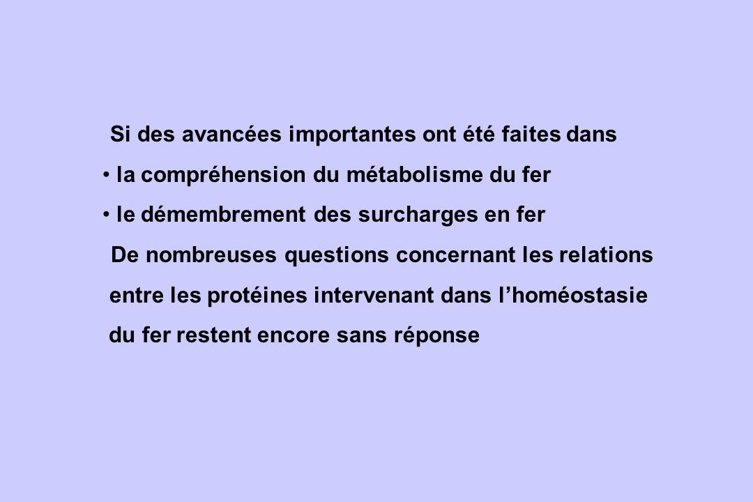 Si des avancées importantes ont été faites dans la compréhension du métabolisme du fer le démembrement des surcharges en fer De nombreuses questions c