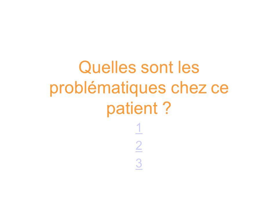 Quelles sont les problématiques chez ce patient ? 123123