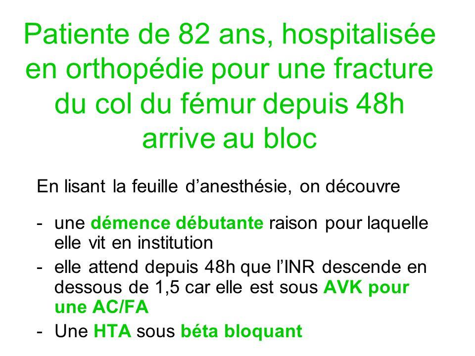 Patiente de 82 ans, hospitalisée en orthopédie pour une fracture du col du fémur depuis 48h arrive au bloc En lisant la feuille danesthésie, on découv