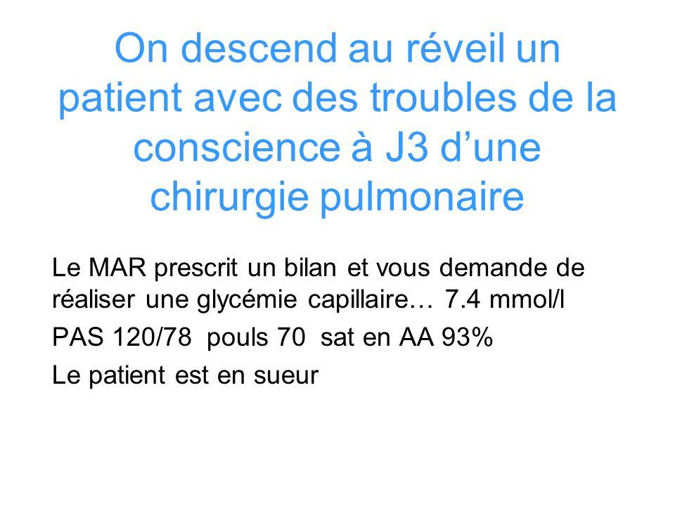 On descend au réveil un patient avec des troubles de la conscience à J3 dune chirurgie pulmonaire Le MAR prescrit un bilan et vous demande de réaliser