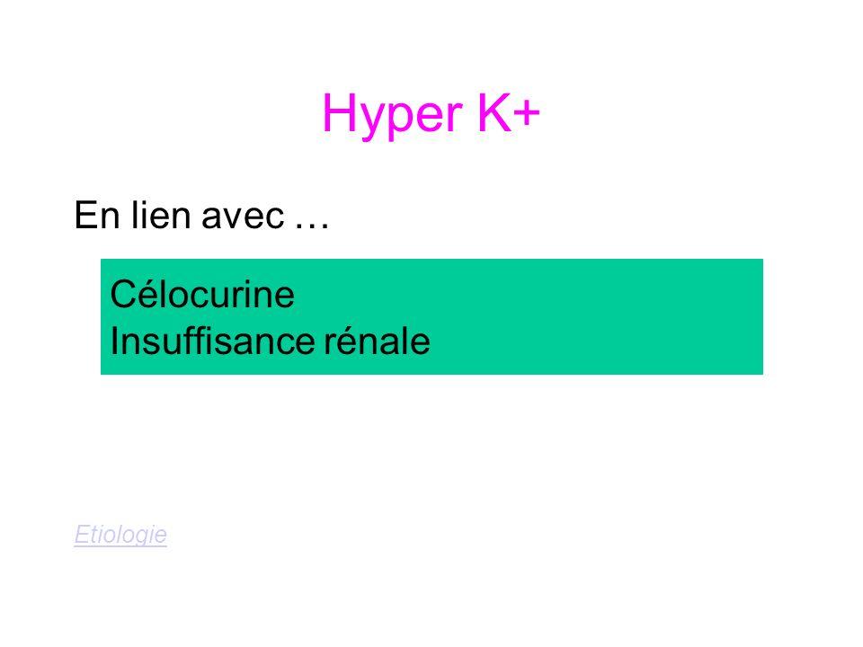 Hyper K+ En lien avec … Etiologie Célocurine Insuffisance rénale