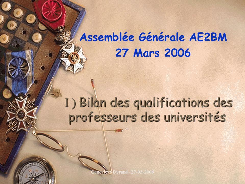 Geneviève Durand - 27-03-2006 I ) Bilan des qualifications des professeurs des universités I ) Bilan des qualifications des professeurs des universités Assemblée Générale AE2BM 27 Mars 2006