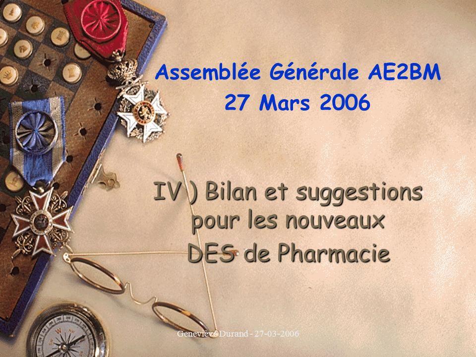 Geneviève Durand - 27-03-2006 IV ) Bilan et suggestions pour les nouveaux DES de Pharmacie Assemblée Générale AE2BM 27 Mars 2006