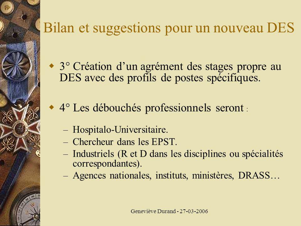 Geneviève Durand - 27-03-2006 3° Création dun agrément des stages propre au DES avec des profils de postes spécifiques. 4° Les débouchés professionnel