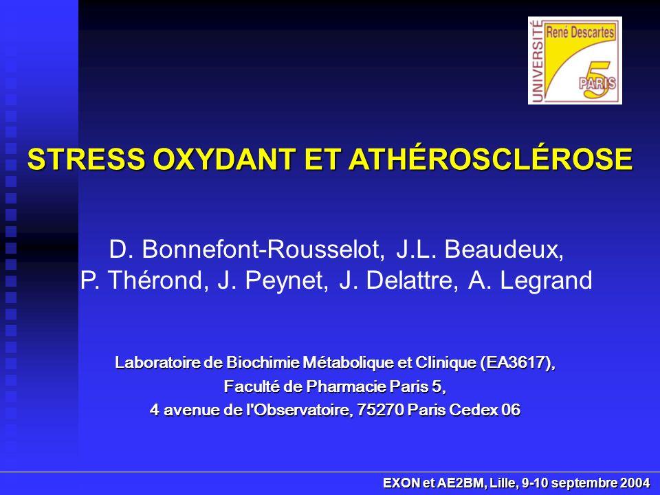 En conclusion athérogenèse progression des lésions Stress oxydant impliqué dans lathérogenèse et dans la progression des lésions dathérosclérose ERO produites par différents types cellulaires ERO produites par différents types cellulaires (cellules endothéliales, cellules musculaires lisses, monocytes-macrophages) constitution et la progression de la lésion dathérosclérose LDL oxydées : rôle dans la constitution et la progression de la lésion dathérosclérose dysfonctionnement endothélial Rôle du dysfonctionnement endothélial modulation des voies de signalisation intracellulaires évolution de la plaque Déséquilibre redox modulation des voies de signalisation intracellulaires libération de facteurs pro-inflammatoires ou de prolifération cellulaire, induction de processus dapoptose ou de nécrose évolution de la plaque