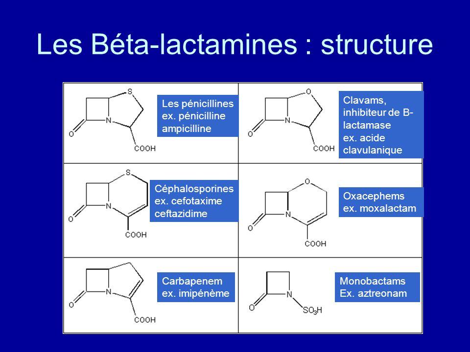 Les Béta-lactamines : structure Les pénicillines ex. pénicilline ampicilline Céphalosporines ex. cefotaxime ceftazidime Carbapenem ex. imipénème Clava