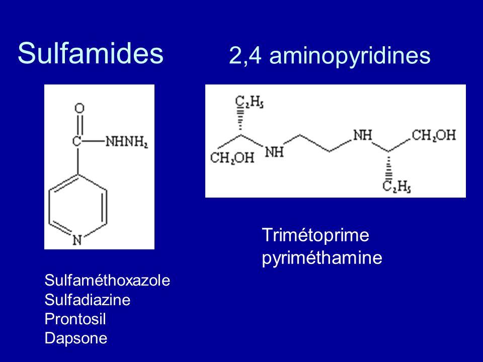 2,4 aminopyridines Sulfamides Sulfaméthoxazole Sulfadiazine Prontosil Dapsone Trimétoprime pyriméthamine