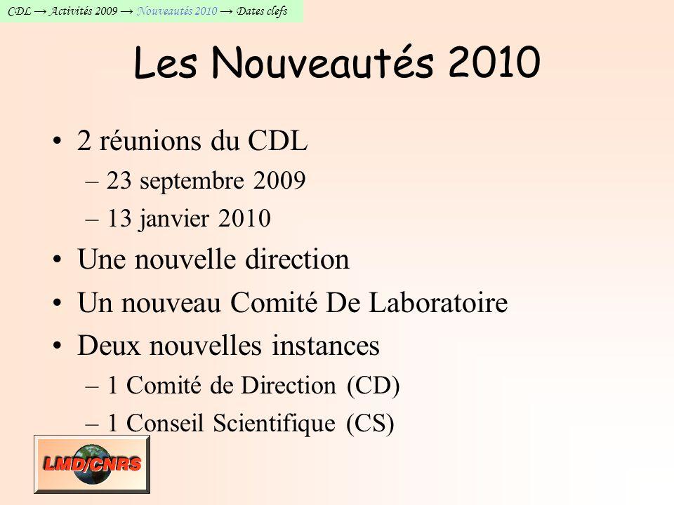 CDL Activités 2009 Nouveautés 2010 Engagements Dates clefs