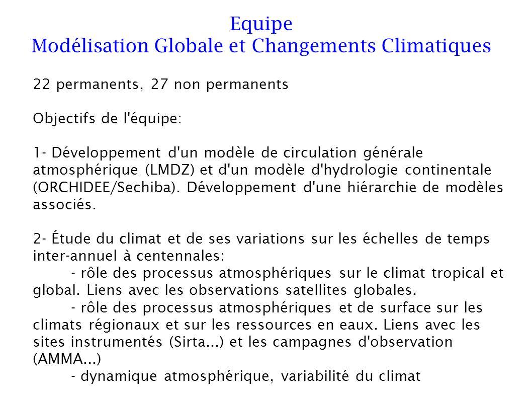 22 permanents, 27 non permanents Objectifs de l équipe: 1- Développement d un modèle de circulation générale atmosphérique (LMDZ) et d un modèle d hydrologie continentale (ORCHIDEE/Sechiba).
