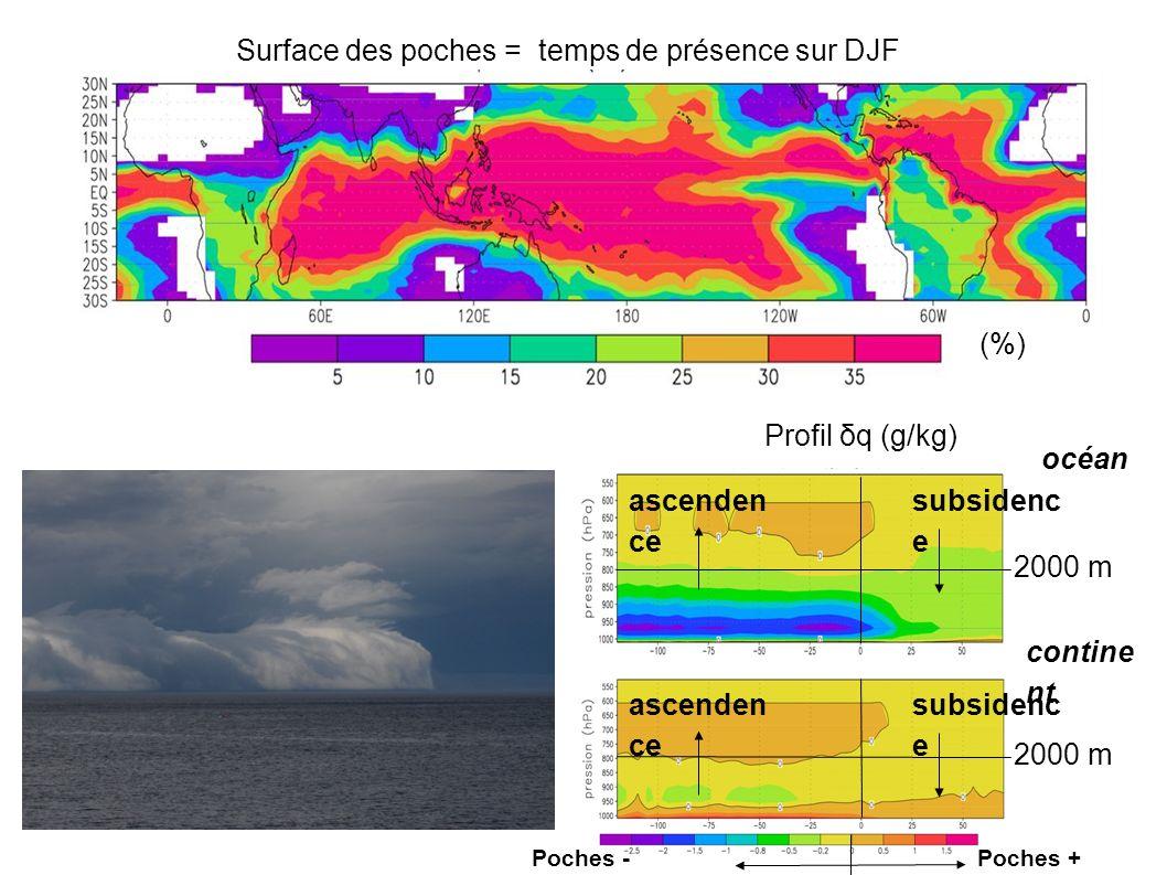 Surface des poches = temps de présence sur DJF (%) Profil δq (g/kg) océan contine nt subsidenc e ascenden ce subsidenc e ascenden ce 2000 m Poches + humides Poches - humides