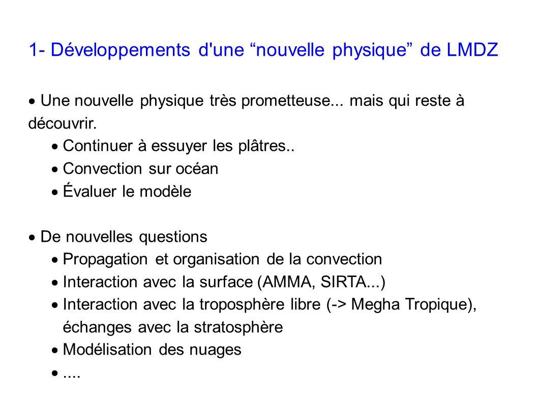 1- Développements d'une nouvelle physique de LMDZ Une nouvelle physique très prometteuse... mais qui reste à découvrir. Continuer à essuyer les plâtre