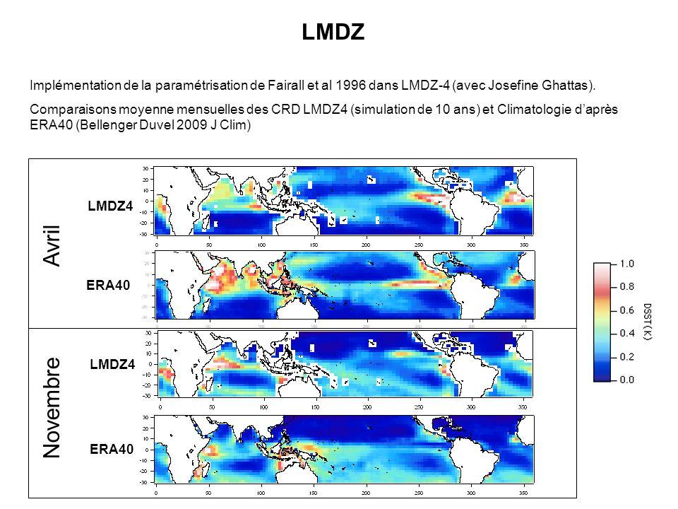 LMDZ Implémentation de la paramétrisation de Fairall et al 1996 dans LMDZ-4 (avec Josefine Ghattas). Comparaisons moyenne mensuelles des CRD LMDZ4 (si