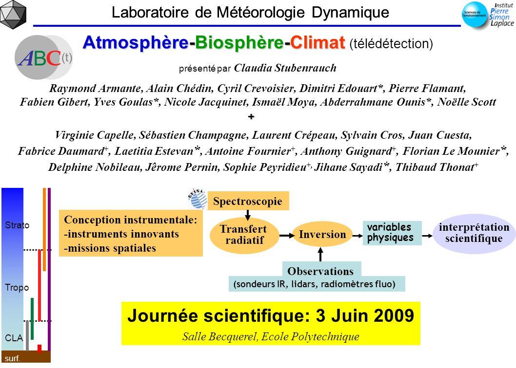 Laboratoire de Météorologie Dynamique Atmosphère-Biosphère-Climat Atmosphère-Biosphère-Climat (télédétection) présenté par Claudia Stubenrauch Raymond