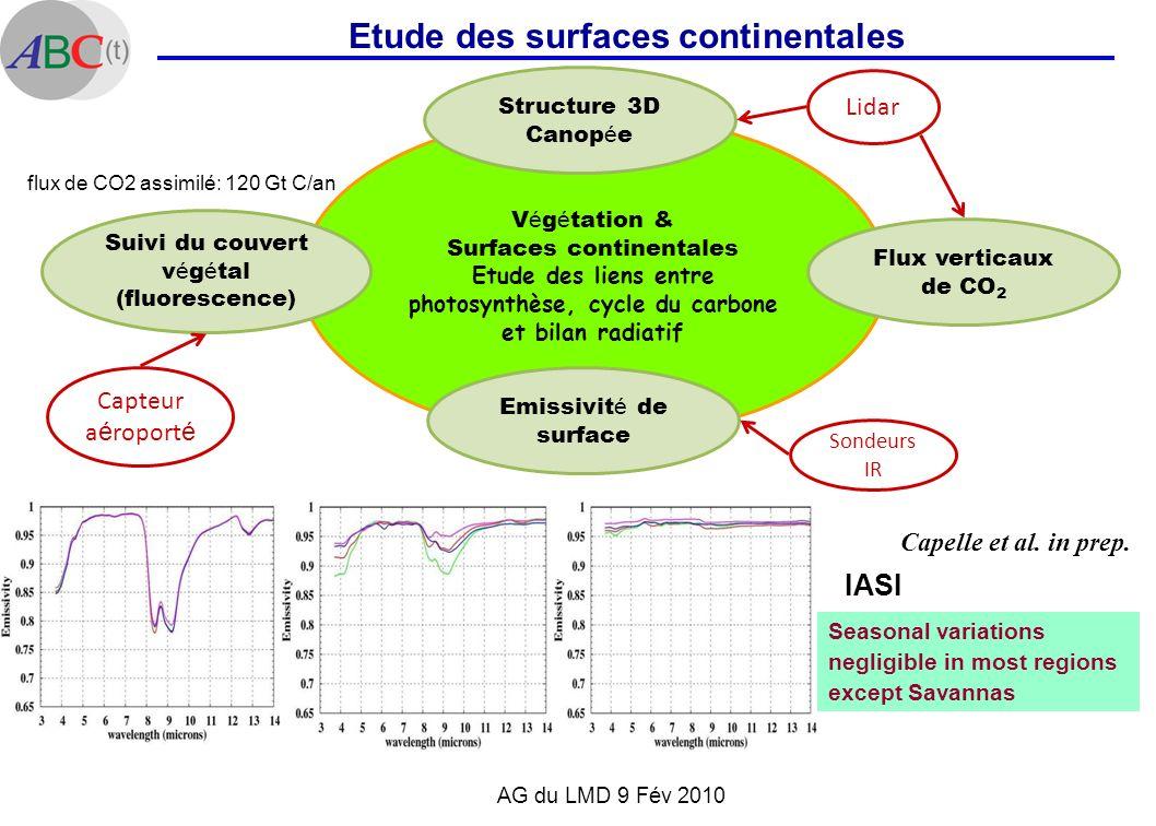 AG du LMD 9 Fév 2010 Etude des surfaces continentales V é g é tation & Surfaces continentales Etude des liens entre photosynthèse, cycle du carbone et