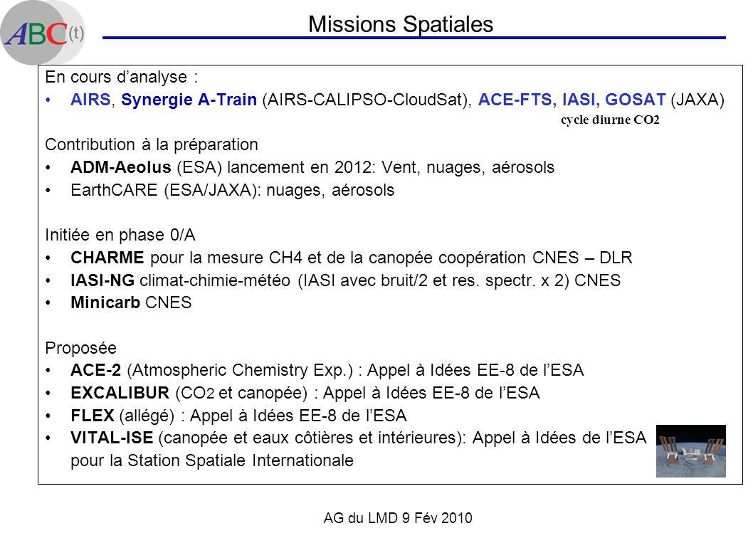 AG du LMD 9 Fév 2010 En cours danalyse : AIRS, Synergie A-Train (AIRS-CALIPSO-CloudSat), ACE-FTS, IASI, GOSAT (JAXA) Contribution à la préparation ADM
