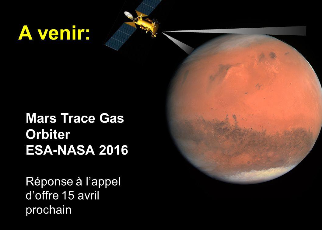 13 A venir: Mars Trace Gas Orbiter ESA-NASA 2016 Réponse à lappel doffre 15 avril prochain