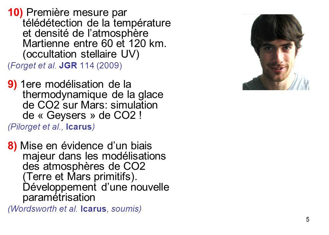 5 10) Première mesure par télédétection de la température et densité de latmosphère Martienne entre 60 et 120 km. (occultation stellaire UV) (Forget e