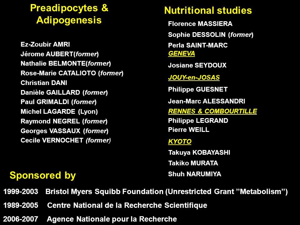 Preadipocytes & Adipogenesis Ez-Zoubir AMRI Jérome AUBERT(former) Nathalie BELMONTE(former) Rose-Marie CATALIOTO (former) Christian DANI Danièle GAILL