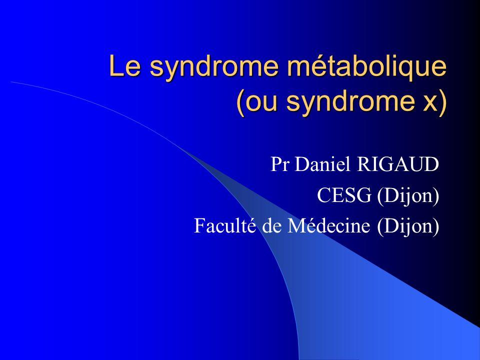 Le syndrome métabolique : définitions Selon le « National Cholesterol Education Program (NCEP) » : Au moins 3 des 5 facteurs ci-dessous : PA PA : max > 135 mm Hg ; min > 85 mm Hg Obésité abdo Obésité abdo : circ.