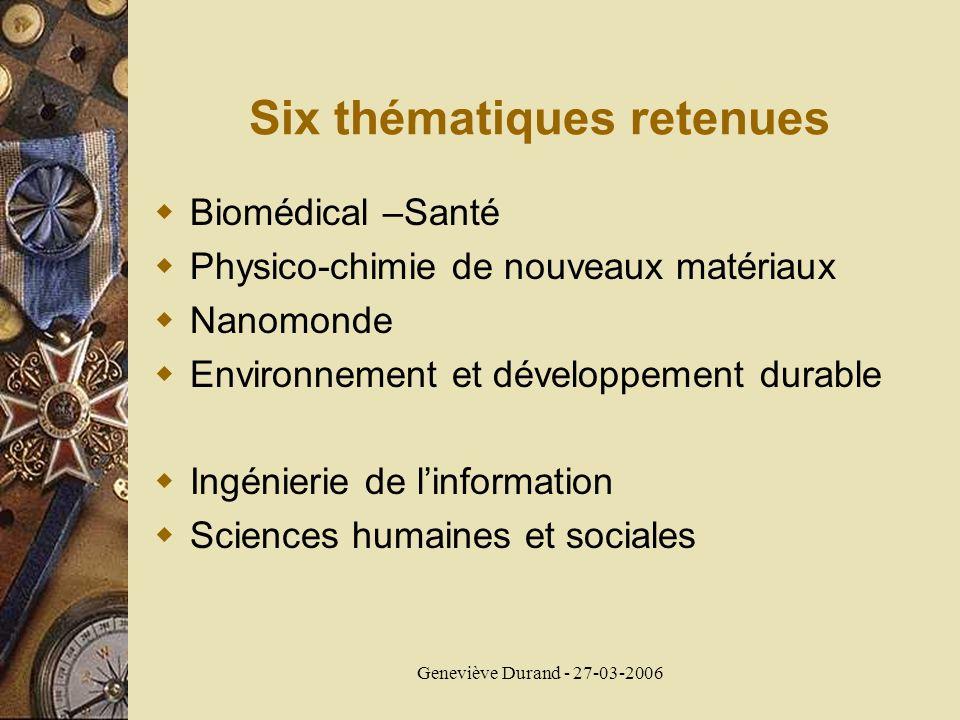 Geneviève Durand - 27-03-2006 Six thématiques retenues Biomédical –Santé Physico-chimie de nouveaux matériaux Nanomonde Environnement et développement