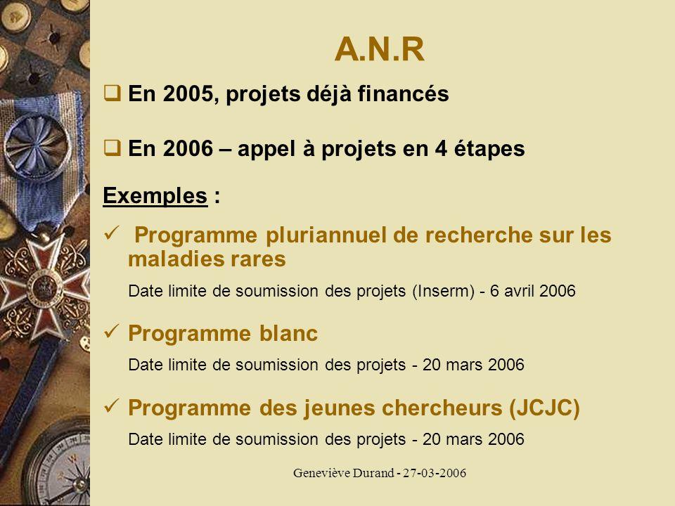 Geneviève Durand - 27-03-2006 A.N.R En 2005, projets déjà financés En 2006 – appel à projets en 4 étapes Exemples : Programme pluriannuel de recherche
