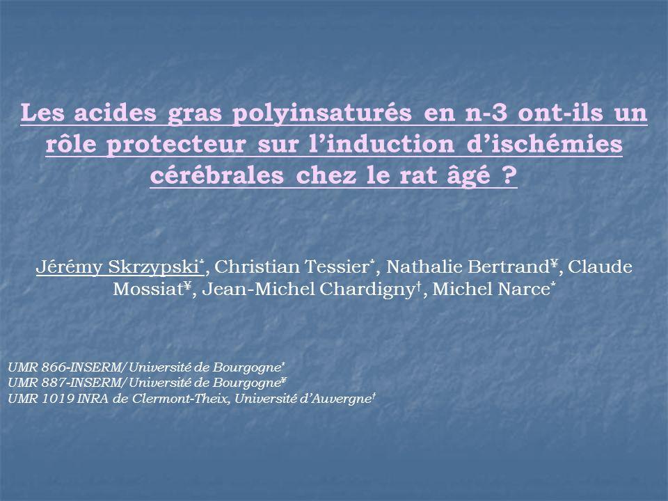 Les acides gras polyinsaturés en n-3 ont-ils un rôle protecteur sur linduction dischémies cérébrales chez le rat âgé ? Jérémy Skrzypski *, Christian T