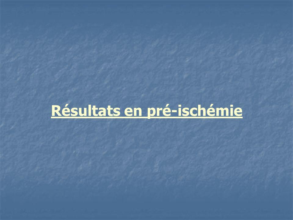 Résultats en pré-ischémie