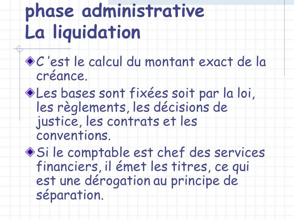 phase administrative La liquidation C est le calcul du montant exact de la créance. Les bases sont fixées soit par la loi, les règlements, les décisio