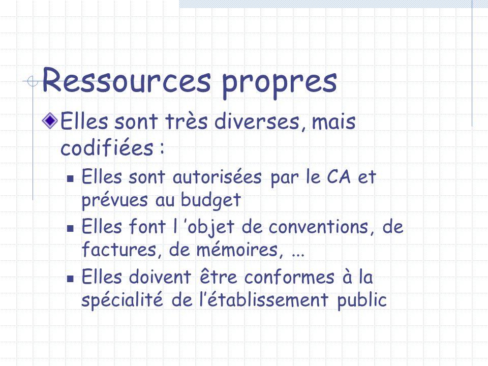 Ressources propres Elles sont très diverses, mais codifiées : Elles sont autorisées par le CA et prévues au budget Elles font l objet de conventions,