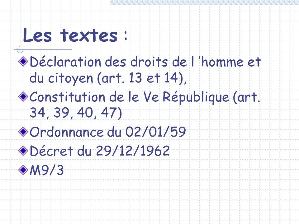 Les textes : Déclaration des droits de l homme et du citoyen (art. 13 et 14), Constitution de le Ve République (art. 34, 39, 40, 47) Ordonnance du 02/