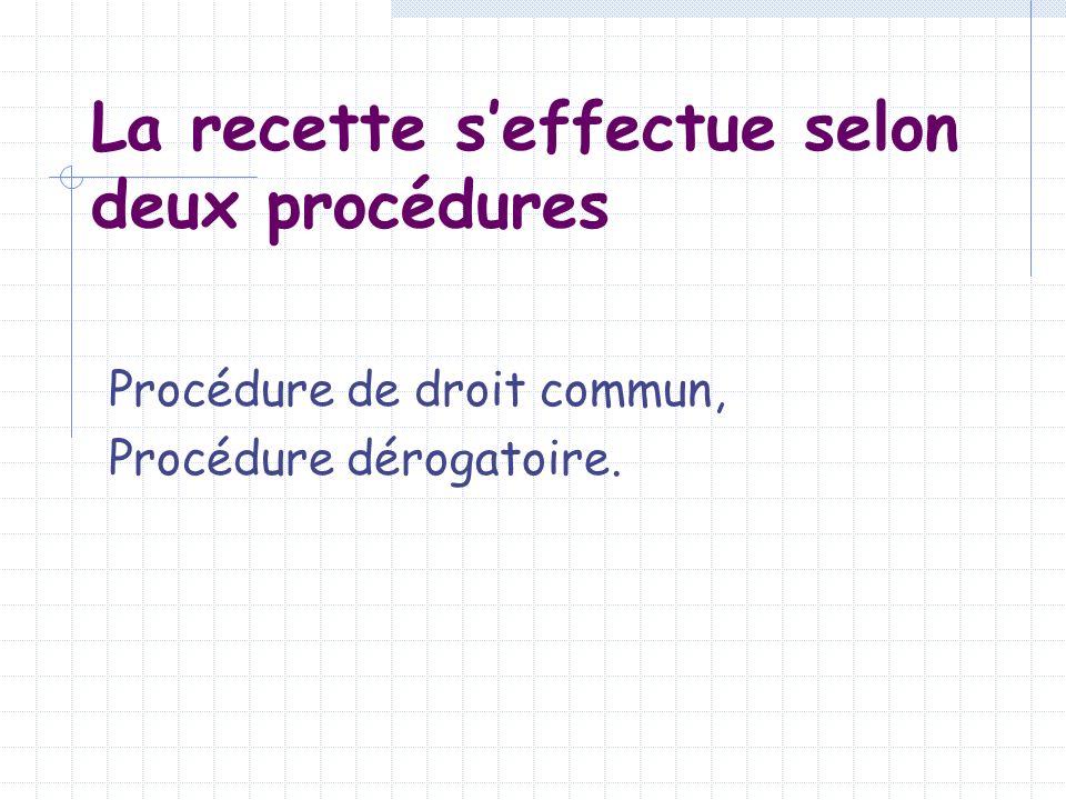 La procédure de droit commun Phase administrative : constatation du droit et émission du titre de recette phase comptable : prise en charge et recouvrement