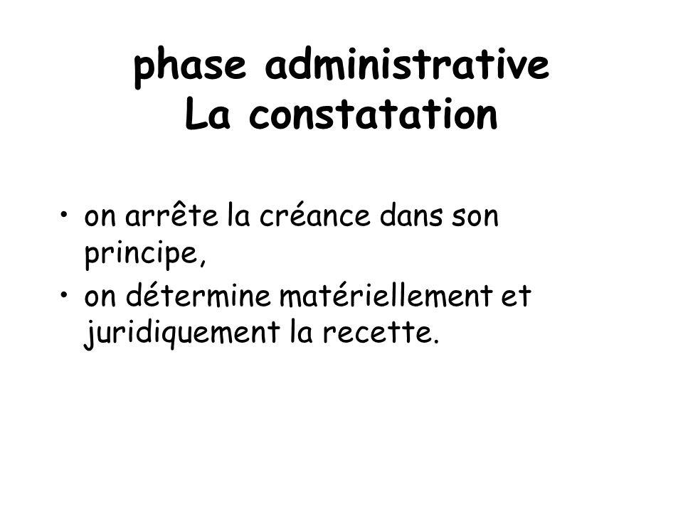 phase administrative La constatation on arrête la créance dans son principe, on détermine matériellement et juridiquement la recette.