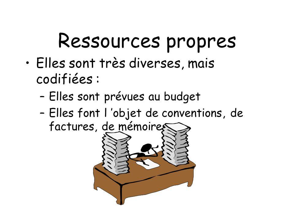 Ressources propres Elles sont très diverses, mais codifiées : –Elles sont prévues au budget –Elles font l objet de conventions, de factures, de mémoir