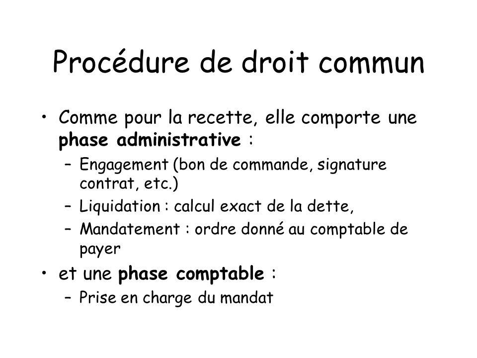 Procédure de droit commun Comme pour la recette, elle comporte une phase administrative : –Engagement (bon de commande, signature contrat, etc.) –Liqu