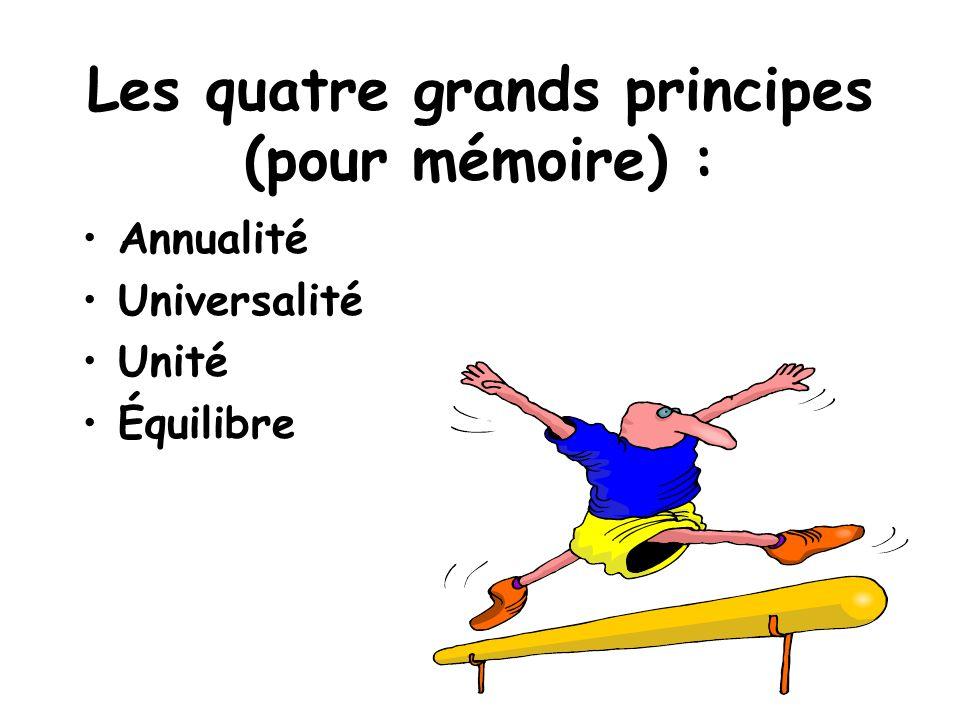 Les quatre grands principes (pour mémoire) : Annualité Universalité Unité Équilibre