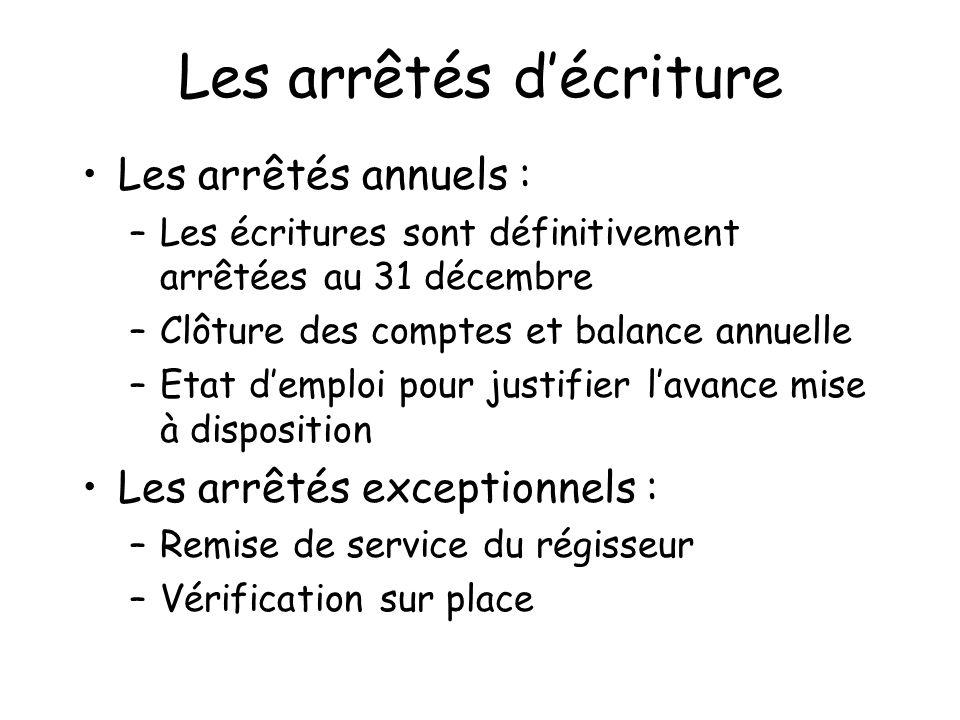 Les arrêtés décriture Les arrêtés annuels : –Les écritures sont définitivement arrêtées au 31 décembre –Clôture des comptes et balance annuelle –Etat
