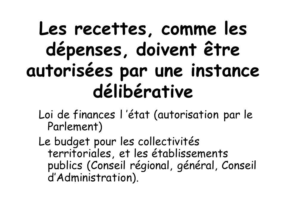 Les recettes, comme les dépenses, doivent être autorisées par une instance délibérative Loi de finances l état (autorisation par le Parlement) Le budg